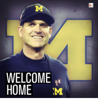 It's official — Jim Harbaugh is introduced as Michigan head coach.: WELCOME  HOME  M  br It's official — Jim Harbaugh is introduced as Michigan head coach.