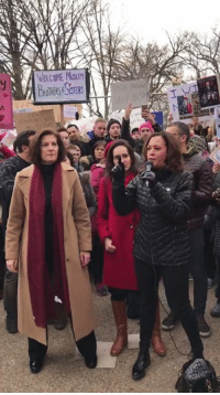 Memes, 🤖, and Catherine: WELCOME MSLIM  BROTHERS&SISTERS  yシ A Donald Trump's executive order shocked us all this weekend. But across the country - from airports to protests and marches - Democratic women like Kamala Harris and Catherine Cortez Masto led the fight to defend women and families impacted by the ban.