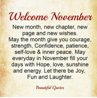 Welcome November <3: Welcome November  New month, new chapter, new  page and new wishes.  May the month give you courage,  strength, Confidence, patience,  self-love & inner peace. May  everyday in November fill your  days with Hope, love, sunshine  and energy. Let there be Joy,  Fun and Laughter.  Beautiful Quotes Welcome November <3