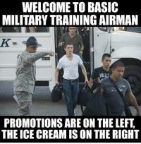 Meme WAR! The Marines respond to the Air Force!: WELCOME TO BASIC  MILITARYTRAINING AIRMAN  200  HOLl  PROMOTIONS ARE ON THE LEFT  THE ICE CREAMIS ON THE RIGHT Meme WAR! The Marines respond to the Air Force!
