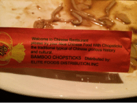 Welcome to Chinese Restaurant  please you Nice Chinese Food With Chopsticks  the traditional typical of Chinese glorious history  and cultural.  BAMBOO CHOPSTICKS Distributed by  ELITE FOODS DISTRIBUTION INC the traditional typical of Chinese glorious history and cultural
