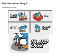 Club, Memes, and Http: Welcome to Club Penguin  Please select your age:  UNDER  9-02  OVER  8 AND  OVER This is every one via /r/memes http://bit.ly/2ERUjBh