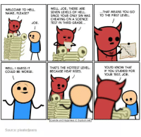 Damn Joe: WELCOME TO HELL.  NAME, PLEASE?  JOE.  WELL, I GUESS IT  COULD BE WORSE.  Source: pleatedjeans  WELL, JOE, THERE ARE  SEVEN LEVELS OF HELL.  SINCE YOUR ONLY SIN WAS  CHEATING ON A SCIENCE  TEST IN THIRD GRADE...  THAT'S THE HOTTEST LEVEL,  BECAUSE HEAT RISES.  Cyanide and Happiness O Explosm.net  THAT MEANS You GO  TO THE FIRST LEVEL.  YOU'D KNOW THAT  IF YOU STUDIED FOR  YOUR TEST, JOE. Damn Joe
