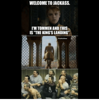 """💀😂: WELCOME TO JACKASS.  TIM TOMMEN AND THIS  IS THE KINGS LANDING""""  img flip com  Trial Meme  IG gaemofthrones 💀😂"""