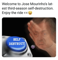 United fans, prepare for disappointment! 🤣👏👍: Welcome to Jose Mourinho's lat-  est third-season self-destruction  Enjoy the rideo  SELF  DESTRUCT  SHOT ON GOAL United fans, prepare for disappointment! 🤣👏👍