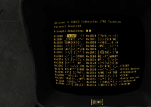 "Fallout, Tor, and Eve: Welcome to ROBCO Industries (TM) Termlink  Password Required  Attempts Remaining :  0x2000 TAINT-}? 8x2DC8 ?""%+%_+>_<)I  8x200C SCENT
