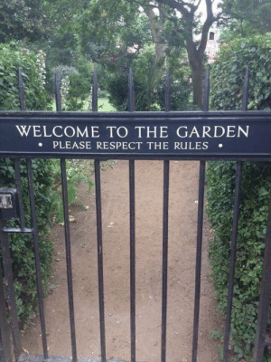 Guns and Roses have sure toned it down..: WELCOME TO THE GARDEN  PLEASE RESPECT THE RULES . Guns and Roses have sure toned it down..