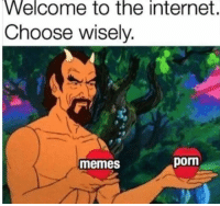 "Gif, Internet, and Memes: Welcome to the internet.  Choose wisely.  memes  porn <figure class=""tmblr-full"" data-orig-height=""276"" data-orig-width=""400""><img src=""https://78.media.tumblr.com/c72a62dfbff0545167db0cdb77114412/tumblr_inline_pcsatokLIm1qhy6fn_540.gif"" data-orig-height=""276"" data-orig-width=""400""/></figure><p>Tengo que buscar ""meme"" en algún buscador nopor&hellip;</p>"