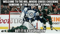 Memes, National Hockey League (NHL), and Wow: WELCOME TO THE NHL, WHERE CROSS CHECKING  SOMEONE IN THE HEADISNIAPENALTY  IN  AI  OGET  BUT IT ISASUSPENSION So it's a suspendable offense but not an in-game penalty wow that's really interesting @nhl