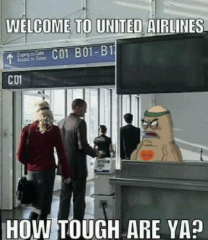 laughoutloud-club:  Throwback: WELCOME TO UNITED AIRLINES  geng of CoeC01 B01-B11  Access to Geas  CO1  HOW TOUGH ARE YA? laughoutloud-club:  Throwback