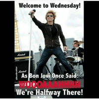 Welcome to Wednesday!  As Bon Jovi Once Sai  We're Halfway There! We can do it!!!!