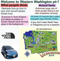 The majority of UW fans can't get into UW either. Follow 🇺🇸(@strait2school)🇺🇸: Welcome to Western Washington pt:1  What people think  -Seahawk fans go door to  door and convert people.  (Kinda true)  -Everyone is Team Edward At times 1-5 sounds like a giant  and stares at posters of  Kristen Stewart while Nirvana -If you don't wear North Face  plays in the background  Actual facts.  -Extremely large rate of  white people failing to eat  with chopsticks correctly.  mosquito orgy (Honda Civics)  or Patagonia you're a peasant.  IG: @strait2school  THE  NORTH  .FACED  RV  SHENGTOM  StatE The majority of UW fans can't get into UW either. Follow 🇺🇸(@strait2school)🇺🇸