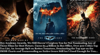 TOP: WELCOME TOA WORLD WITHOUTRULLE  A FIRE WILL RISE  THE RK KNIGHT RISES  DAR  THE  DAR K  KNIGHT  BAT MAN  BEGIN S  Hey Academy Awards, we still Haven't Forgiven You for Not Nominating Any of  These Films for Best Picture. Guess $2.4 Billion in Box Office, over 50o Critics Top  Ten List, An Average 89% on Rotten Tomatoes, Dominating the Top 250 on the  IMDB Charts and Transcending an Entire Genre Still Isn't Good Enough for You... TOP