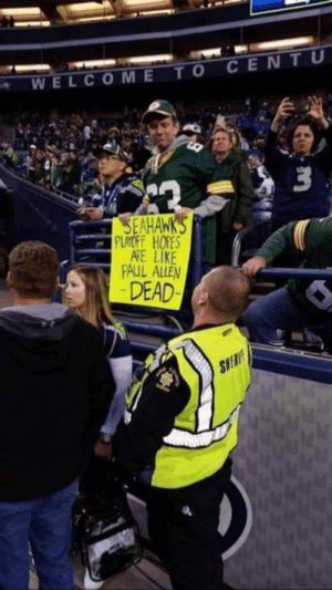 Hey what seed did your Packers get in the playoffs?🤔 Oh that's right they sucked, fired their coach and missed the playoffs! #karmasabitch #ripPackers: WELCOMETO CENTU  SEAHAWK  PLAYOF HORES  AKE LIKE  PAUL ALLEN  DEAD  SIE Hey what seed did your Packers get in the playoffs?🤔 Oh that's right they sucked, fired their coach and missed the playoffs! #karmasabitch #ripPackers