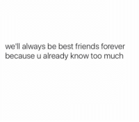best friends forever: we'll always be best friends forever  because u already know too much