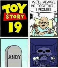 Toy Story 19: WE'LL ALWAYS  BE TOGETHER  I PROMISE  STORY  19  ANDY Toy Story 19