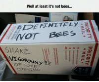 Bees, Shake, and Well: Well at least it's not bees..  dailywere  SEFINITELY  SHAKE  FORE <p>Shake Vigorously.</p>