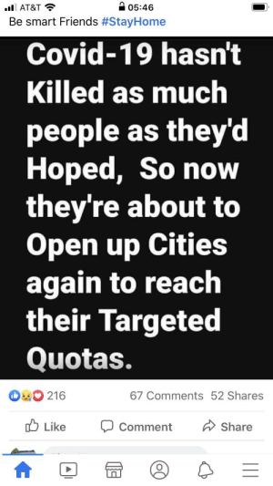 Well boys and girls, looks like the government has met they're death quota and can now open up the cities again! What was that quota and how was it based? SMH!: Well boys and girls, looks like the government has met they're death quota and can now open up the cities again! What was that quota and how was it based? SMH!
