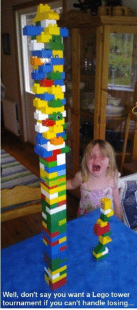 """Bad, Club, and Lego: Well, don't say you want a Lego tower  tournament if you can't handle losing... <p><a href=""""http://laughoutloud-club.tumblr.com/post/174506642079/does-it-make-me-a-bad-parent-if-im-like-this"""" class=""""tumblr_blog"""">laughoutloud-club</a>:</p>  <blockquote><p>Does it make me a bad parent if I'm like this?</p></blockquote>"""
