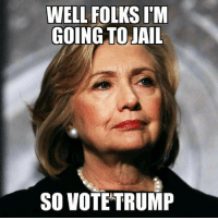 Jail, Memes, and Trump: WELL FOLKS IM  GOING TO JAIL  SO VOTE TRUMP We can only hope. For now.