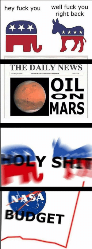 The final frontier by Drackenstein FOLLOW 4 MORE MEMES.: well fuck you  right back  hey fuck you  THE DAILY NEWS  THE WORLDS FAVORITE NEWSPAPER  since 1879  www.dalynews.com  OIL  ON  MARS  HOLY SH  NASA  BUDGET The final frontier by Drackenstein FOLLOW 4 MORE MEMES.