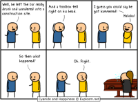 Drunk, Head, and Memes: Well, he left the bar really  And a toolbox fell  drunk and wandered into a  I guess you could say he  right on his head.  got hammered  a  construction site.  Hahaha!  So then what  oh. Right  happened?  Cyanide and Happiness C  Explosm.net The games we've played this month has been madness. Let's finish the trend as apt as possible.  🔵 Alice: Madness Returns 👉 http://www.twitch.tv/MattMelvin