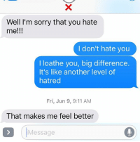 I loathe you too: Well I'm sorry that you hate  me!!!  I don't hate you  I loathe you, big difference.  It's like another level of  hatred  Fri, Jun 9, 9:11 AM  That makes me feel better  (Message I loathe you too