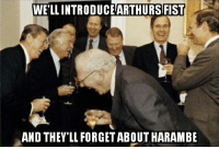 Never forget Harambe. Thats what the government wants: WELL INTRODUCE ARTHURSIFIST  AND THEYLLFORGETABOUT HARAMBE Never forget Harambe. Thats what the government wants