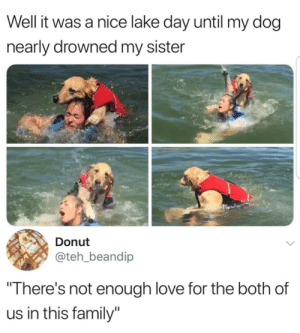 "One must go: Well it was a nice lake day until my dog  nearly drowned my sister  Donut  @teh_beandip  ""There's not enough love for the both of  us in this family"" One must go"