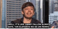 "The Lonely Island loves making up fake Jimmy Fallon quotes in interviews.: WELL, IT'S LIKE JIMMY FALLON ALWAYS  SAYS, ""UN ELEFANTE NO ES UN PERRO. The Lonely Island loves making up fake Jimmy Fallon quotes in interviews."