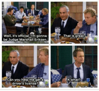 Memes, 🤖, and Marshall: Well, it's official. I'm gonna  be Judge Marshall Eriksen.  Can you help me geta  drivers license?  That is great  A what? Ranjit 😂