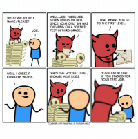 Cheating, Memes, and Cyanide and Happiness: WELL, JOE, THERE ARE  SEVEN LEVELS OF HELL.  SINCE YOUR ONLY SIN WAS  CHEATING ON A SCIENCE  TEST IN THIRD GRADE..  WELCOME TO HELL  NAME, PLEASE?  ..THAT MEANS YOu GO  TO THE FIRST LEVEL  JOE.  WELL, 1 GUESS IT  COULD BE WORSE.  THAT'S THE HOTTEST LEVEL,  BECAUSE HEAT RISES  YOU'D KNOW THAT  IF YOu STUDIED FOR  YOUR TEST JOE.  Cyanide and Happiness © Explosm.net Have you ever cheated on a test before? 🤔