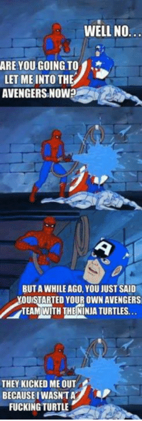 Fucking, Funny, and Avengers: WELL NO..  ARE YOU GOING TO  LET ME INTO THE  AVENGERSINOW?  BUT A WHILE AGO, YOU JUST SAID  OUISTARTED YOUR OWN AVENGERS  TEAM WITH THE NINIA TURTLES.  THEY KICKED ME OUT  BECAUSEIWASNTA  FUCKING TURTLE Classic Spiderman