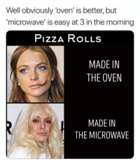 Dank, Pizza, and 🤖: Well obviously 'oven' is better, but  'microwave' is easy at 3 in the morning  PizzA RoLLs  MADE IN  THE OVEN  MADE IN  THE MICROWAVE