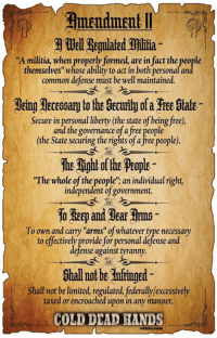 """LIBERALS HATE THIS GUIDE WITH A BURNING PASSION!: Well Regulated Millia  """"A militia, when properly formed, are in fact the people  themselves"""" whose ability to act in both personalan  common defense must be well maintained.  Secure in personal liberty (the state ofbeing free),  and the governance ofa free people  (the State securing the rights of a free people).  The Rightoffhe Peoples  """"The whole of the people"""": an individual right,  independent of government.  10 Reep and Bear Rrmo  To own and carry """"arms"""" of whatever type necessary  to effectively provide for personal defense and  defense against tyranny.  Shall not be limited, regulated, federally/excessively  taxed or encroached upon in any manner.  COLD DEAD HANDS LIBERALS HATE THIS GUIDE WITH A BURNING PASSION!"""