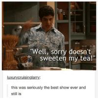 """best show ever: Well, sorry doesnt  Sweeten my tea!""""  luxurycruisinglarry.:  this was seriously the best show ever and  still is"""