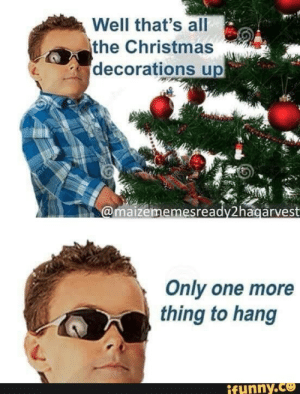 Hang: Well that's all  the Christmas  decorations up  @maizememesready2hagarvest  Only one more  thing to hang  ifunny.co