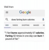 """Google, Shopping, and Spring Break: Well then  Google  Q  does farting burn calories  WEBVIDEOS SHOPPING IMAGES NE  """"1 fart burns approximately 67 calories.  Farting 52 times in one day can burn 1  pound of fat."""" spring break body coming up! thanks for 3 million guys! 💁🏼♀️😍"""