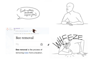 Irl, Me IRL, and Bees: well-uritten  strutured,  original joke  bee removal (redi)  kerrnvd  35./k  cubmitted manths ogo by Map e chade [+1]  save hide qive award report crocspost +c  217 comments chare  Bee removal  A  Bee removal is the process of  removing bees from a location me irl