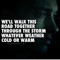 Eminem, Memes, and Rap: WE'LL WALK THIS  ROAD TOGETHER  THROUGH THE STORM  WHATEVER WEATHER  COLD OR WARM Holler if you feel like you been down the same road.. eminem rap rapper legend