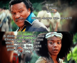 My own Rise of Skywalker memes (continued)….: Well,.  Well,..  Well..  What -have we- here?!  A dirty old pervert who  Chewy told me to use  this blaster on and  pointed in the right  place to keep you  in line. My own Rise of Skywalker memes (continued)….