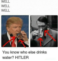 Memes, Hitler, and Trump: WELL  WELL  WELL  You know who else drinks  water? HITLER Democrats have finally done it. They've found proof that Trump is just like Hitler!
