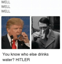 Memes, Hitler, and Water: WELL  WELL  WELL  You know who else drinks  You know vw  water? HITLER Coincidence ? I think TF NOT 😳