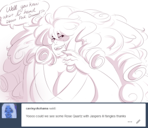 Tumblr, Blog, and Diamond: Well you hnow  whot hond  bout Pak Dimud  JASKEKART  Fater   canisyokohama said:  Yoooo could we see some Rose Quartz with Jaspers lil fangies thanks jasker:  she heard pink diamond had an 8 packthat pink diamond was shredded
