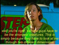 Meme, Creatures, and Shaggy: well you're rig  ela guys have to  be the strongest creatures. This is  simply because they have to look at me  through two different dimensions Shaggy meme dump