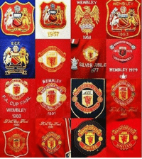 MUFC logos over the years: WEMBLEY  WEMBLEY  1957  963  1958  E.C.F  978  SILVER UBILE  977 WEMBLEY 1979  WEMBLEy  AI  CUP FIN  WEMBLEY  1983  1991  1994  HE  UNITE  VITED MUFC logos over the years