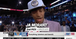 Memphis Grizzlies, New York Knicks, and Los Angeles Lakers: WEMPHS  CCMNES  JA MORANT  2nd PICK-GRIZZLIES  NEXT  BOBBY MARKS  TEAM  3:32  LAL  CLE  SDRAFT 2019  NEEDS Everything (starters and bench)  3. KNICKS  RD1  3 WKNICKS  &dea  DRAFT ORDERate  4. LAKERS  5. CAVALIERS  6. SUNS  7. BULLS Most honest assessment of the Knicks you'll ever see #NBADraft https://t.co/0A8IUPpSDx