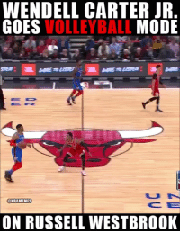 Honestly, Russell Westbrook and Wendell Carter Jr. would be great volleyball teammates.  #Bulls https://t.co/1vNkK1p0e4: WENDELL CARTER JR  GOE  S VOLLEYBALL MODE  DE  @NBAMEMES  ON RUSSELL WESTBROOK Honestly, Russell Westbrook and Wendell Carter Jr. would be great volleyball teammates.  #Bulls https://t.co/1vNkK1p0e4