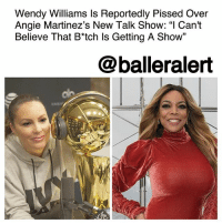 "Apparently, Life, and Memes: Wendy Williams ls Reportedly Pissed Over  Angie Martinez's New Talk Show: ""I Can't  Believe That B*tch ls Getting A Show""  13  @balleralert Wendy Williams Is Reportedly Pissed Over Angie Martinez's New Talk Show: ""I Can't Believe That B*tch Is Getting A Show"" - blogged by @MsJennyb ⠀⠀⠀⠀⠀⠀⠀ ⠀⠀⠀⠀⠀⠀⠀ WendyWilliams has reportedly been on edge since Daily Mail released a report accusing her husband of living a double life. Apparently, she hasn't been the same since the news broke, but when she found out that her old radio rival, Angie Martinez, landed a talk show with her syndication company, she reportedly went ballistic. ⠀⠀⠀⠀⠀⠀⠀ ⠀⠀⠀⠀⠀⠀⠀ According to Daily Mail, in a lunch meeting with her husband, and execs from her production company, Williams burst into tears after hearing that Debmar-Mercury would be partnering with Martinez for a talk show pilot. ⠀⠀⠀⠀⠀⠀⠀ ⠀⠀⠀⠀⠀⠀⠀ Sources tell the publication that screaming was heard from the back of the restaurant, with Williams' husband yelling: ""this is some bullsh*t!"" Although the execs tried to convince the couple that there would not be a conflict of interest between the two shows, the two were enraged. Williams reportedly told her team, ""I can't believe that b*tch is getting a show with them. This is such a betrayal."" ⠀⠀⠀⠀⠀⠀⠀ ⠀⠀⠀⠀⠀⠀⠀ However, sources close to Williams believe her big blow up is largely in part due to the rest of the drama that is going on in her life. ⠀⠀⠀⠀⠀⠀⠀ ⠀⠀⠀⠀⠀⠀⠀ ""No one is sure whether she already knew of Kevin's affair or was shocked by the news,"" the source said. ""Whatever the case, she is more embarrassed the veil has been lifted off her life. The woman who gossips about everyone else's life for a living is a now making headlines of her own."""