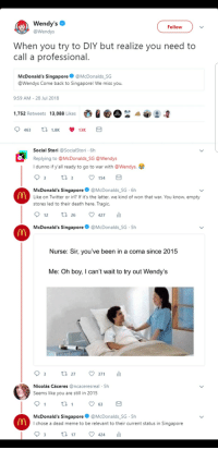 McDonalds, Meme, and Memes: Wendy's  @Wendys  Follow  When you try to DIY but realize you need to  call a professional  McDonald's Singapore@McDonalds SG  @Wendys Come back to Singapore! We miss you.  9:59 AM-28 Jul 2018  1,752 Retweets 13,088 Likes  Social Stori @SocialStori 6h  Replying to @McDonalds SG @Wendys  I dunno if y'all ready to go to war with @Wendys.e  154  McDonald's Singapore@McDonalds SG 6h  Like on Twitter or irl? If it's the latter, we kind of won that war. You know, empty  stores led to their death here. Tragic.  12 tl 26 427  McDonald's Singapore  @McDonalds SG-5h  Nurse: Sir, you've been in a coma since 2015  Me: Oh boy, I can't wait to try out Wendy's  03 t. 27。371 11  Nicolás Cáceres @ncaceresreal 5h  Seems like you are still in 2015  th  McDonald's Singapore @McDonalds SG-5h  I chose a dead meme to be relevant to their current status in Singapore Wendys roast backfires via /r/memes http://bit.ly/2RwPzqp